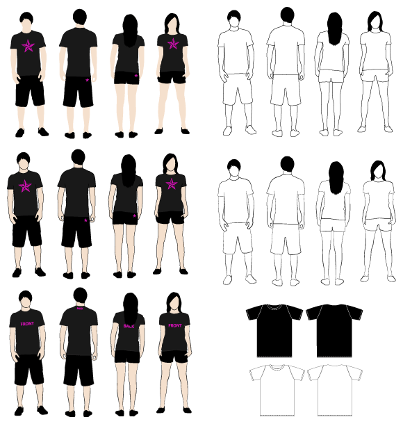 t shirt template vector. contain 4 T-Shirt Models