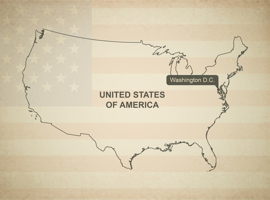 Map Vector of United States of America - flag in background