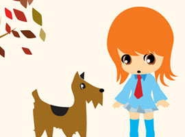 Aiki Walking Her Doggie