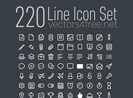 220 Linear Icon Vector Set