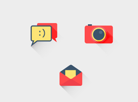 Flat Shadowed Icon Vectors