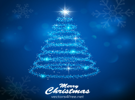 Blue Light Christmas Tree Vector