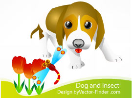Free Vector Dog and Insect