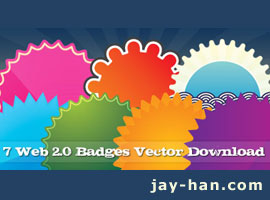 7 Web 2.0 badges vector