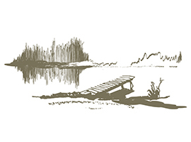 Serene Lakeside Dock Vector