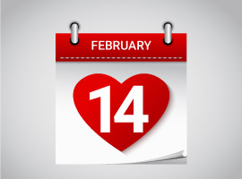 Free Valentines Day February 14 Calendar Vector