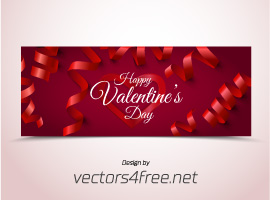 Red Bokeh Valentine's Day Banner Vector
