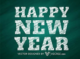 Chalkboard Happy New Year Vector
