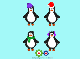 Cute Free Vector Cartoon Penguins