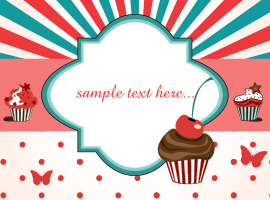 Cup Cake Card Vector