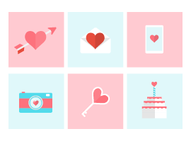 Flat Valentine Icon Vectors