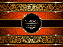 Gold Damask Vintage Background Vector