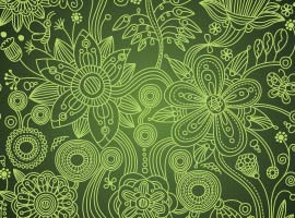 Green and Red Floral Paisley Vector Patterns