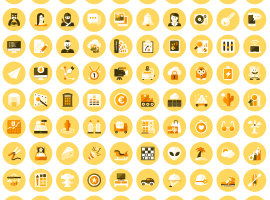120 Flat Icon Vectors That Changes Colors