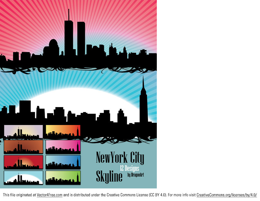 Two skylines of New York City in different colors and designs, ready to use. Included are 2 png's of which one is transparent. Useful as a banner or alongside a blog article.