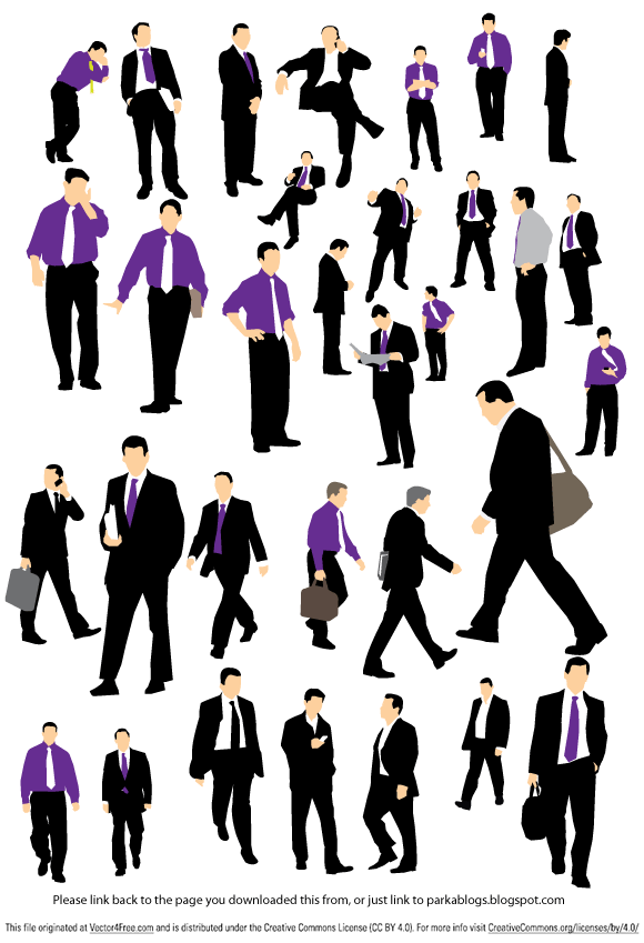 Pack of 32 businessman silhouette created in Illustrator saved as an EPS file.
