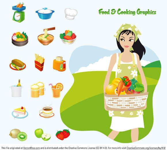 Food & Cooking Free Vector Image includes 11 food icons and a girl holding a grocery basket.