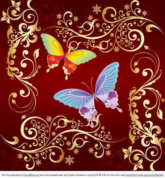 Nice vector butterfly and floral ornamens.