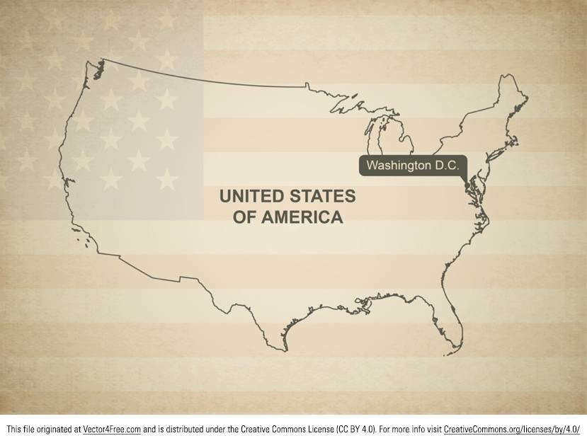 Grab the greatest map vector of the United States! This vintage map vector shows the country's boundaries and even has a vintage looking American flag in the background. A clipping mask is used to show only a part of the complete flag.