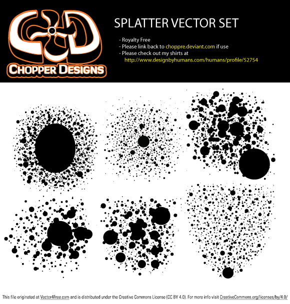 6 HI RES Splatters made in photoshop and illustrator in the EPS file and ABR - Photoshop brushes. Please link back to my page if use and support me on choppre.deviantart.com and on http://www.designbyhumans.com/humans/profile/52754. Thanks