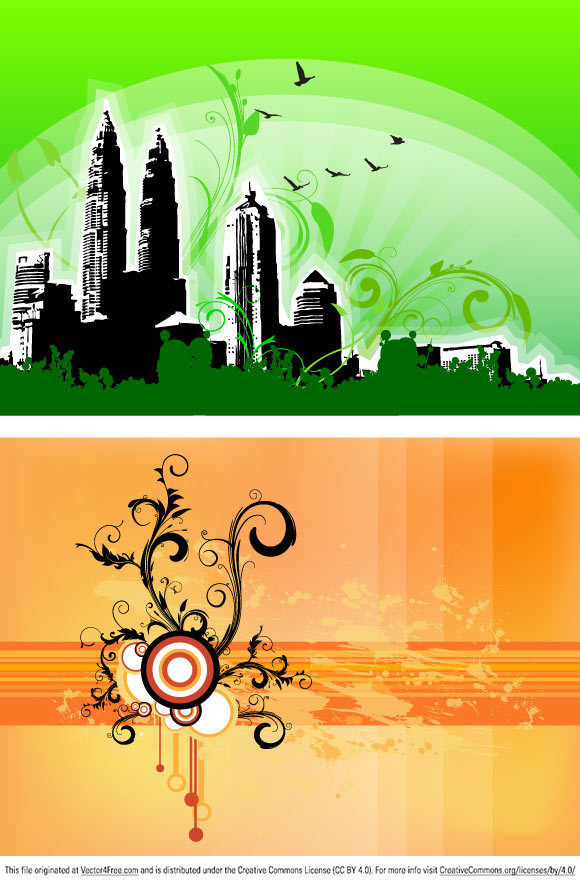 Two vector compositions with urban and organic elements like buildings, birds foliages and the good old swirls.