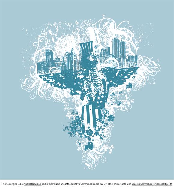 This illustration includes view of city, sceletor, elements of US flag, floral ornaments, swirls and splatters.