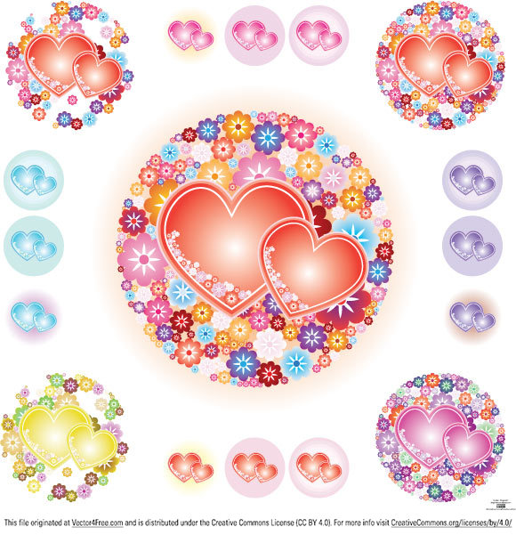free vectors graphics - Flowery Hearts Vector