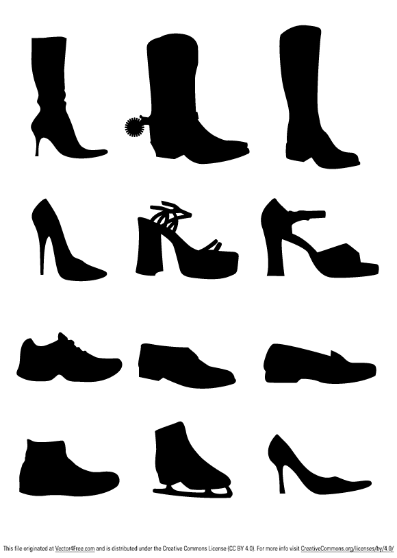 free vectors graphics - Shoe Vectors Silhouettes
