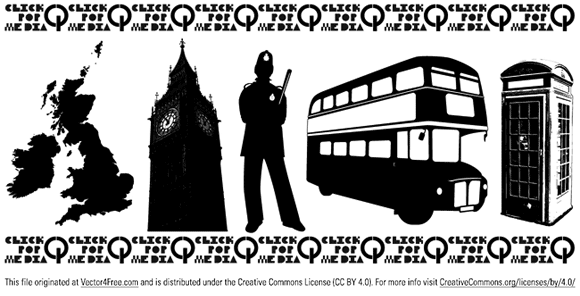 Free England Vector includes the UK, Big Ben, a British bobby, a double decker bus, and an english phonebooth.