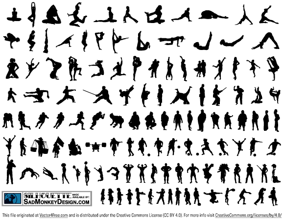 Over 120 silhouettes made available by Sadmonkeydesign.com. Feel free to use these elements for anything you wish, personal and/or commercial. For more free stuff made available by SadMonkeyDesign.com please visit sadmonkeydesign.wordpress.com.