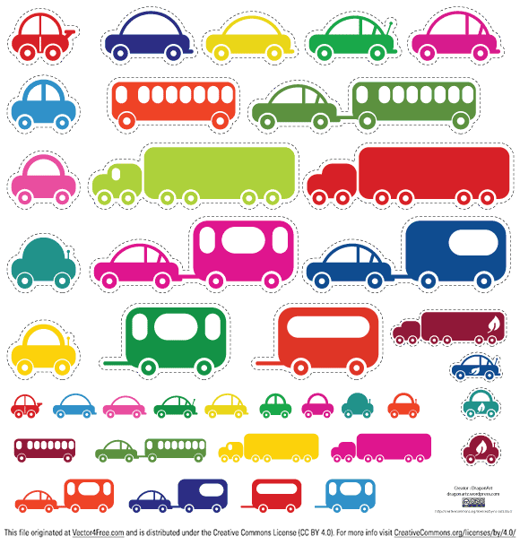 Toy cars and busses. Ideal for kids, printout and let your kids do the cutting. Or use them on your site, blog or scrapbook. Have fun using!