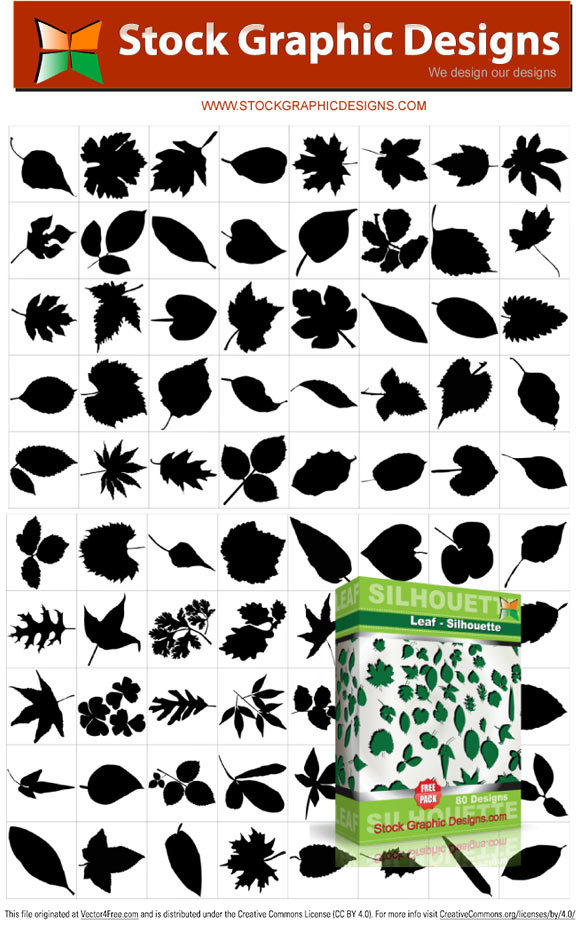 80 Leaf silhouettes design free pack. File format eps.