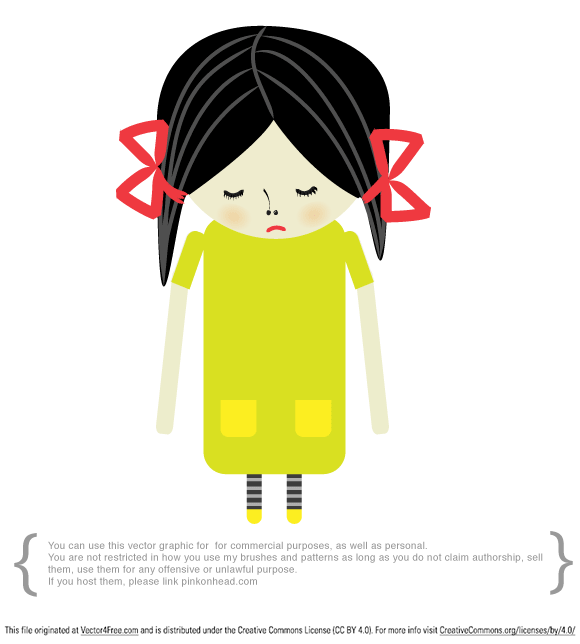 This time I have for you Sad girl vector graphic made in Adobe Illustrator CS4.