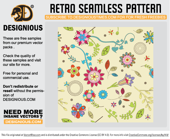 Free retro seamless pattern from Designious.