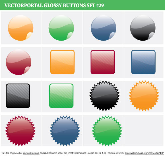 15 Glossy Vector Buttons.