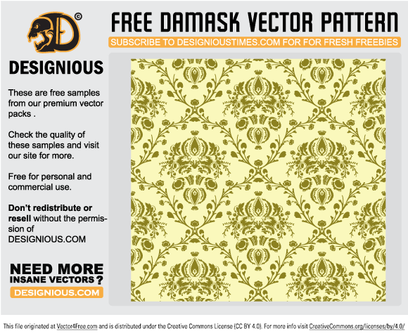 free vectors graphics - Free damask seamless pattern