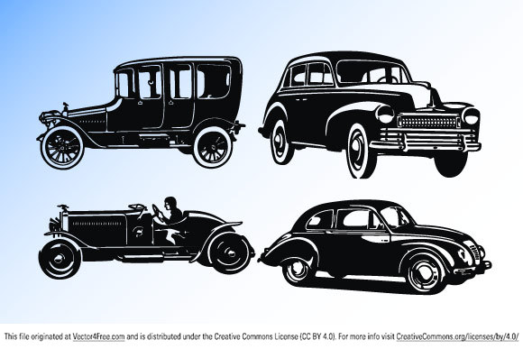 EPS and SVG smooth old car vectors; 