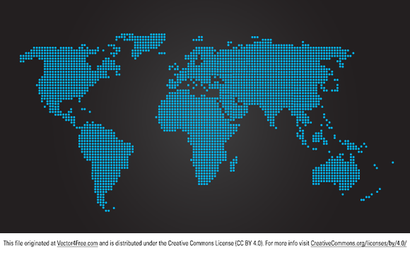 Illustrated <strong>map of the world</strong> made of blue dots on a gray fade to black background. Ideal for the main page of a website. Created by a French Designer. Free for personal use only.