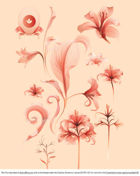 One super hot file of various botanical and flourish like elements. This file is a little different than our usual products, because it contains illustrator transparencies and we saved as CS3. Typically our stock vector products are saved as EPS version 8, so basically anyone can open them with any major image/vector editing application.