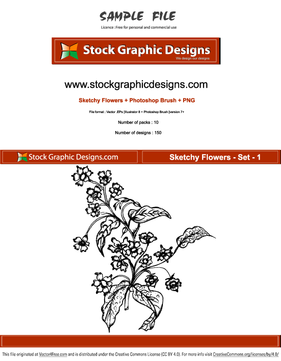Sample file from sketchy flowers vector pack.