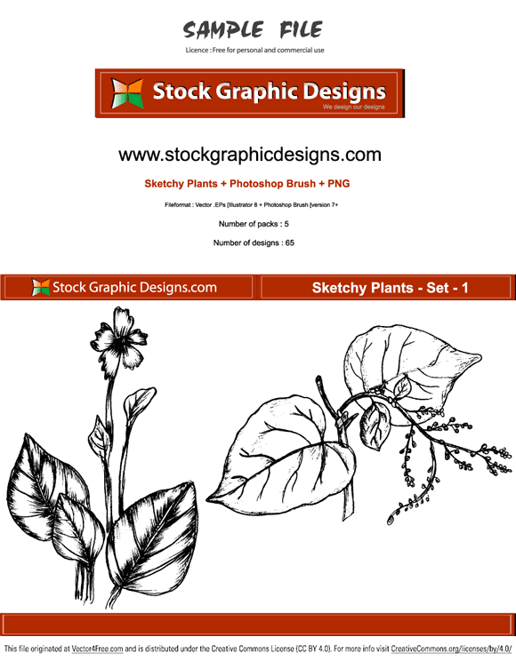 Sample file from sketchy plants vector pack by www.stockgraphicdesigns.com