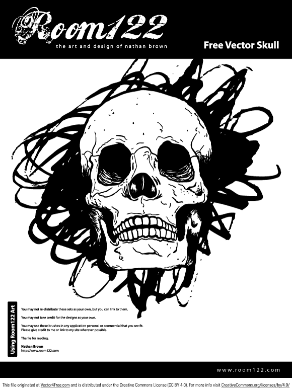 This is a vector skull drawn with a Wacom tablet. The file is a version 10 EPS. This artwork is free to use in both personal and commercial works. 