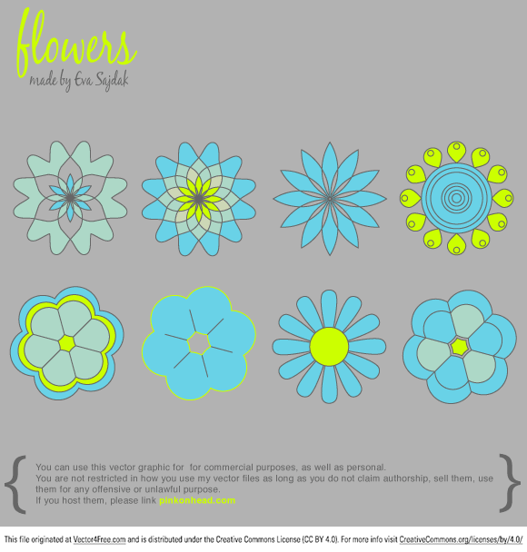 This time I've made for you 8 Simple Vector Flowers. Hope you find it useful.