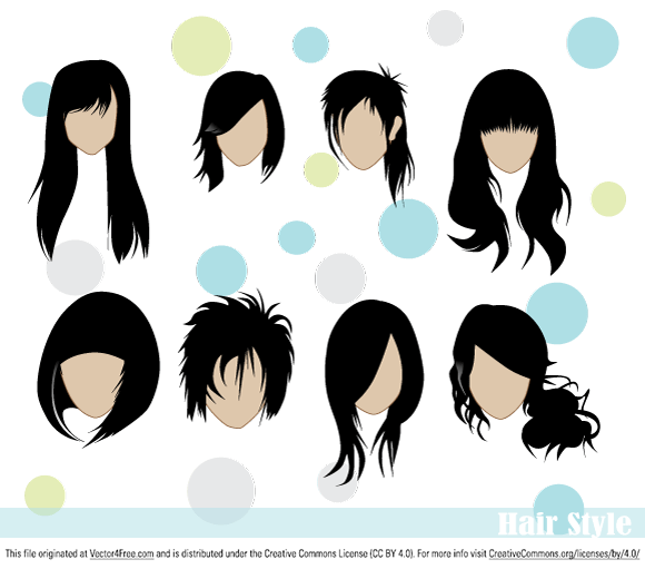 Hair style vectors in ai, eps and svg format.