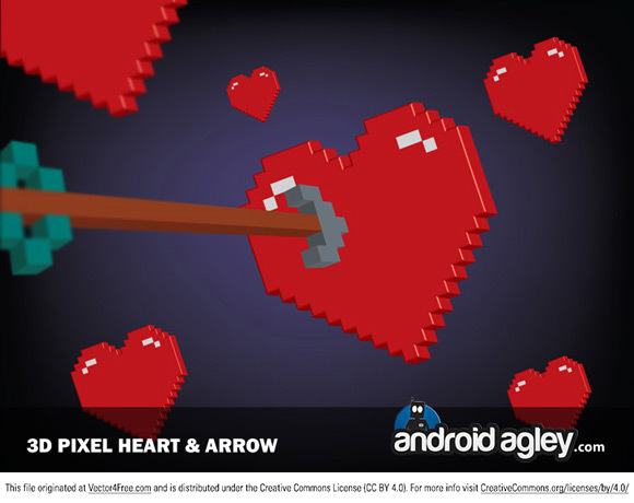 3D pixel heart and arrow. Visit AndroidAgley.com for more great freebies.