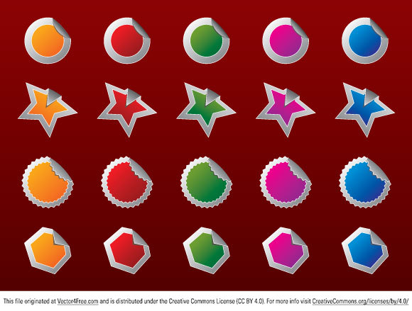 This free vector pack includes 4 shapes of badges in 5 different colors. Those Web 2.0 style vector are free to use. Just download and enjoy.
