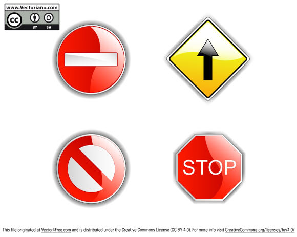 Four shine road signs isolated on white.