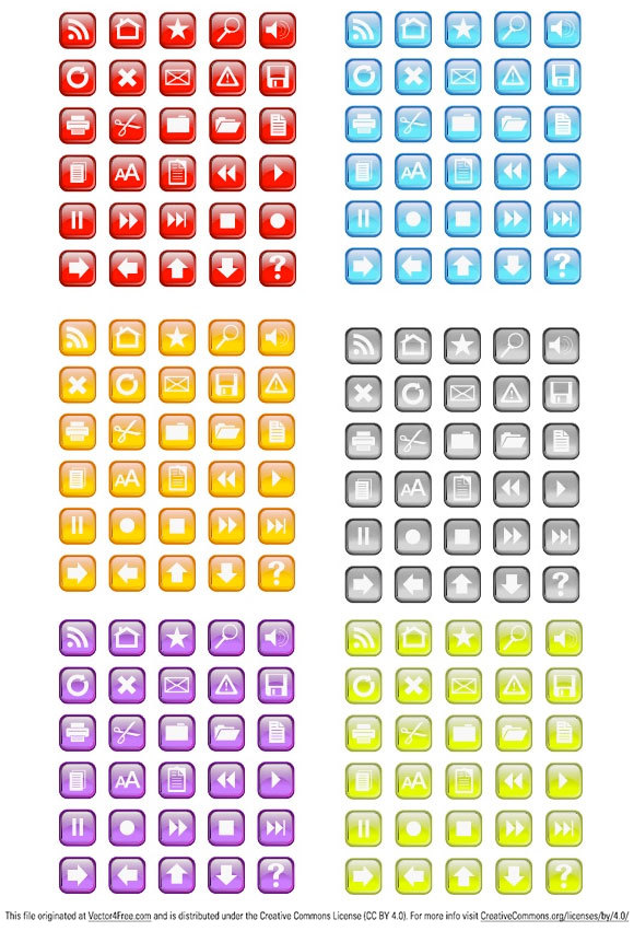 This pack has 30 free vector icons in six colors.