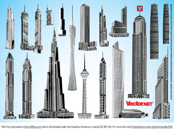 Highly detailed skyscraper vector graphics in Adobe Illustrator AI, EPS, PDF and SVG format for free download. The vector art collection contains the world's tallest existing and planned buildings: Burj Dubai/Burj Khalifa, Guangzhou TV Tower, Empire State Building, Nanjing Greenland Financial Center aka Greenland Square Zifeng Tower, Milad Tower aka Borj-e-Milad, Al Hamra Skyscraper, Emirates Park Towers, Elite Residence Dubai Marina, Shanghai Tower, Petronas Towers, Dubai Towers Doha, Jin Mao Building, Chicago Spire, Emirates Towers, John Hancock Center, Ryugyong Hotel and many other amazing skyscraper vectors.