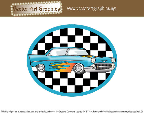 A classic blue automobile graphic with flames.